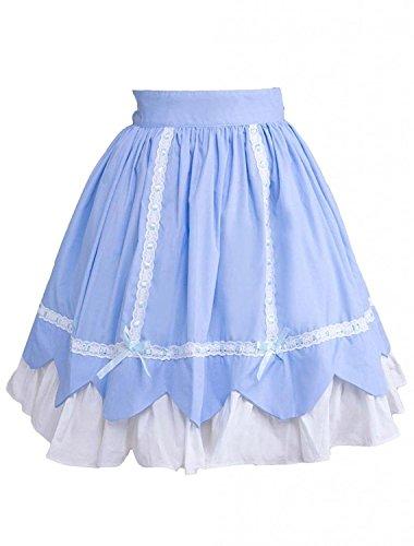 Cemavin Womens Sky Blue Ruffled Bow Cotton Lolita Skirt