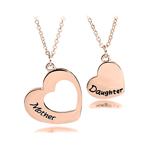 KUIYAI Mother Daughter Necklace Set of 2 Matching Heart Mom and Me Jewelry (Necklace RG Set)
