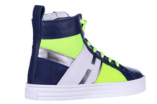Hogan Rebel Zapatos Zapatillas de Deporte Largas Niño EN Piel Nuevo r141 Fluo ZI