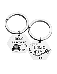MAOFAED Matching Couples Keychains Honey Beehive Keychains Home is Where Your Honey is Housewarming Couples Gift