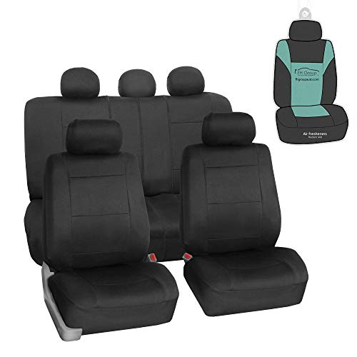 FH Group FB083115 Premium Neoprene Seat Covers, Airbag & Split Compatible w. Free Air Freshener, Black Color - Fit Most Car, Truck, SUV, or Van