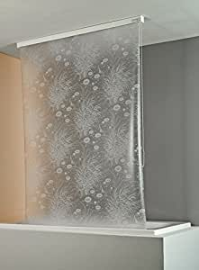 ECO-DuR 4024879000318 - Cortina de ducha enrollable (134 cm), diseño de nenúfares, color blanco