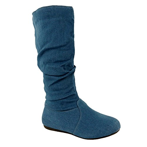 Guilty Schuhe Frauen Winter Leichte Mitte Kalb Kniehohe Komfortable Slouchy - Walking Flache Ferse Mode Stiefel Blauer Jeansstoff