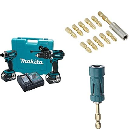 Makita XT218 18V LXT Lithium-Ion Cordless 2-Piece Combo Kit with 11-Piece Makita Impact Gold Torsion Magnetic Bit Set and Makita Impact Gold Ultra-Magnetic Torsion Bit Holder