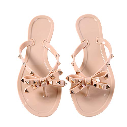 Womens Rivets Bowtie Flip Flops Jelly Thong Sandal Rubber Flat Summer Beach Rain Shoes Nude