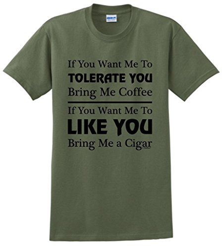 ThisWear Cigar Gift Tolerate vs. Like You Coffee and Cigars T-Shirt XL MlGrn ()