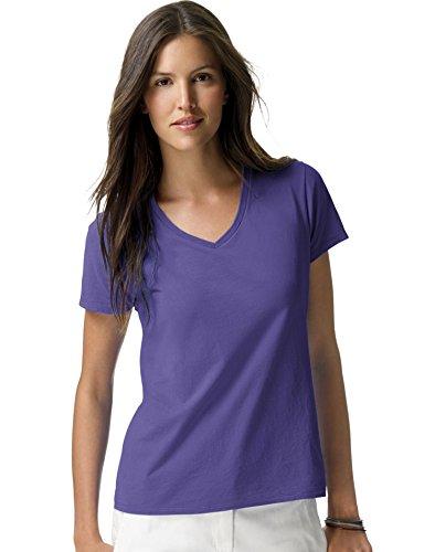Hanes Ladies Ringspun Cotton Nano-T V-Neck T-Shirt, Purple, XX-Large