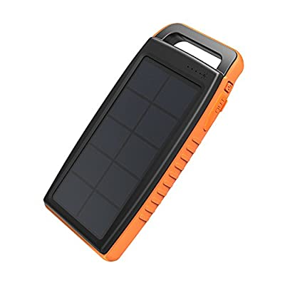 Solar Charger RAVPower 15000mAh Outdoor Portable Charger Solar Power Bank Dual USB External Battery Pack Power Pack with Flashlight (IPX4 Waterproof, Dustproof, Solar Panel Charging, DC5V/2A Input)