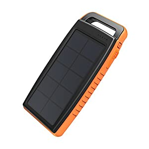 41zv%2BPn2Q9L. SS300  - Solar Charger RAVPower 15000mAh Outdoor Portable Charger Solar Power Bank Dual USB External Battery Pack Power Pack with Flashlight (IPX4 Splashproof, Dustproof, Solar Panel Charging, DC5V/2A Input)