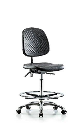 LabTech Seating LT42882 Class 100 Clean Room Polyurethane High Bench Chair Medium Back Chrome Base, Chrome Foot Ring, Chrome Casters (Lift Pneumatic Medium)