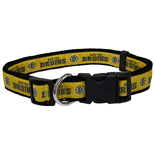 Pets First NHL Boston Bruins Collar for Dogs & Cats, Medium. - Adjustable, Cute & Stylish! The Ultimate Hockey Fan Collar!