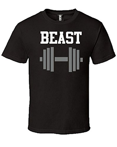 SR Beauty and Beast T-Shirts Matching Couples Shirts with Short Sleeve-Black-X-Large-(Beast ONLY) by SR