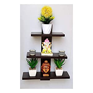 Dime Store Engineered Wood Wall shelf Home Decor items ,Glossy Finish ,Set Of 1,Brown