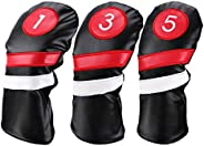 Growment Head Covers 3Pcs/Set Driver Fairway Wood Headcovers Black Red Vintage Pu 1 3 5 Driver