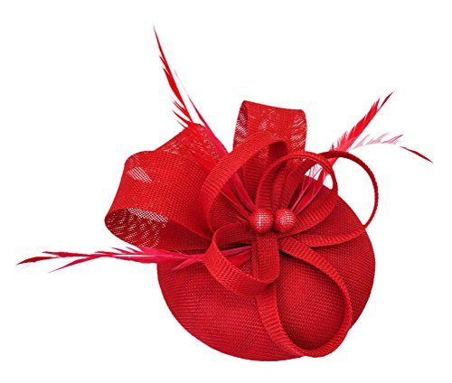 Cap Headpiece - Ahugehome Fascinator Headband Hair Clip Feather Pillbox Hat Mesh Cocktail Party Wedding (KN Red)