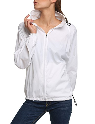 Zeagoo Lightweight Rainwear Active Outdoor Hoodie Cycling Running Windbreaker Jacket (S, White)