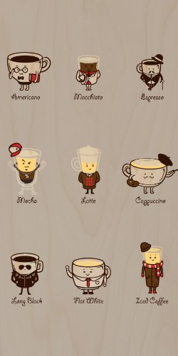 Coffee Personality Funny Cartoon Coffee Drink Types w/ Expressions - Plywood Wood Print Poster
