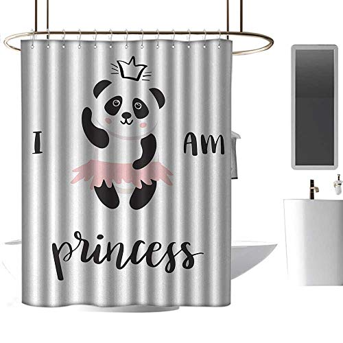 Shower Curtains Blue Flowers I am a Princess,Funny Ballerina Panda Bear Dancing in Pink Skirt Baby Kids Girls,Black and White Rose,W48 x L84,Shower Curtain for Shower - Flowers Dancing Bear