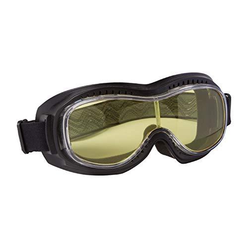PiWear Motorradbrille Schutzbrille Toronto, schwarz mit gelbem Glas