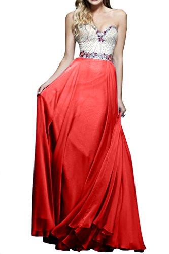 Rot Abendkleid Festkleider A Linie Damen Strass Ausschnitt Ivydressing Herz Promkleid Rvzqw7a