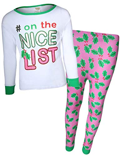 Sweet & Sassy Girls 2-Piece Snug Fit Christmas Pajama Set, Nice List, Size 4' ()