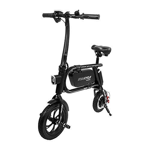 - Swagtron 200W SWAGCYCLE Envy Steel Frame Folding Electric Bicycle e Bike w/Automatic Headlight - Reach 10 mph; 264 lbs Max Load -Black (Renewed)
