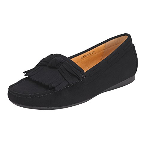 JENN ARDOR Tassel Suede Penny Loafers for Women: Bow Knot Slip-on Driving Moccasins Boat Walking Flats-Black (Black Bow Flat)