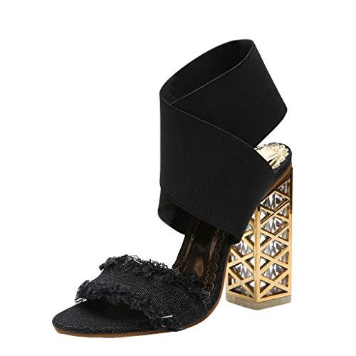 BEAUTYVAN Summer Pumps Womens Casual Peep Toe Wrap Strap Slingback High Heeled Dress Sandals (US:6.5, Black)