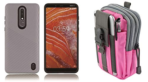 Silver Nokia Pouch - Bemz Slim Polycarbonate TPU Hybrid Case (Silver Gray) Compatible with Nokia 3.1 Plus (Cricket) with Tactical Pouch (Pink/Gray) and Atom Cloth