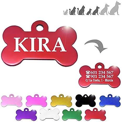 Hueso para Mascotas pequeñas-Medianas Placa Chapa Medalla de identificación Personalizada para Collar Perro Gato Mascota grabada (Rojo)