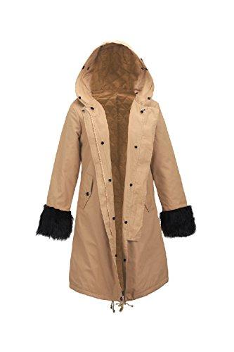 Épaissir Outercoat Les À Fourrure Occasionnels L'hiver Parkas Khaki Chaud L Manteau De Lâche Femmes Long Fausse rqYwHrO8tn
