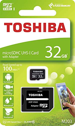 Toshiba M203 32GB Class 10 MicroSDXC 100MB Memory Card with Adapter (THN-M203K0320A2)