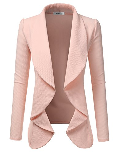 Doublju Classic Draped Open Front Blazer for Women with Plus Size Rose X-Large