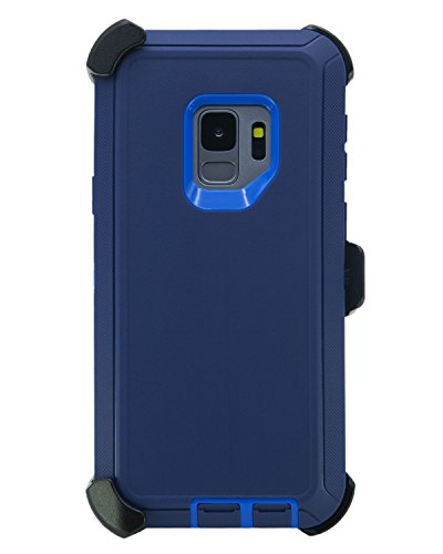 WallSkiN Turtle Series Cases for Samsung Galaxy S9 (Only) Tough Protection with Kickstand & Holster - Midnight (Navy Blue/Blue)