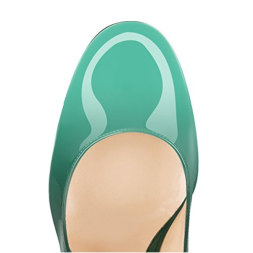 Round Shoes Toe Party Shoes Slip High Green Colorful Courts on Block Pumps Basic Womens Heel Sandals Closed Toe uBeauty wSYqBFW