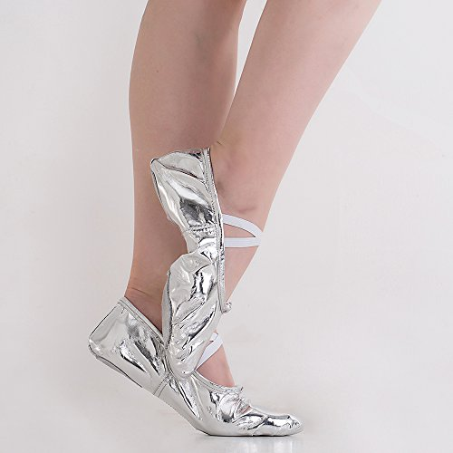 Missfiona Frauen helle PU Leder Ballett Bauch Hausschuhe Ballroom Dance Schuhe mit Wildleder Split-Sole Silber