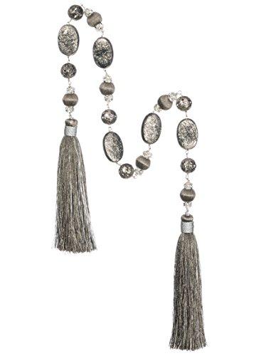 Metal Beaded Garland - Sullivans Beaded Tassel Garland Metal Home Decor Gray