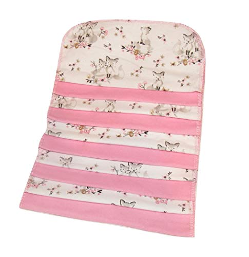 10pcs Large 8.5 x 8.5 Inch Flannel Cloth Baby Wipes, Cloth Napkins, Family Cloth for Cloth Diapering, Bathing, Removing Makeup & More (Floral Fox) -