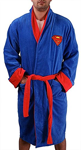 Superman Adult Terry Cloth Hooded Bath Robe Blue w/Red Logo, One Size