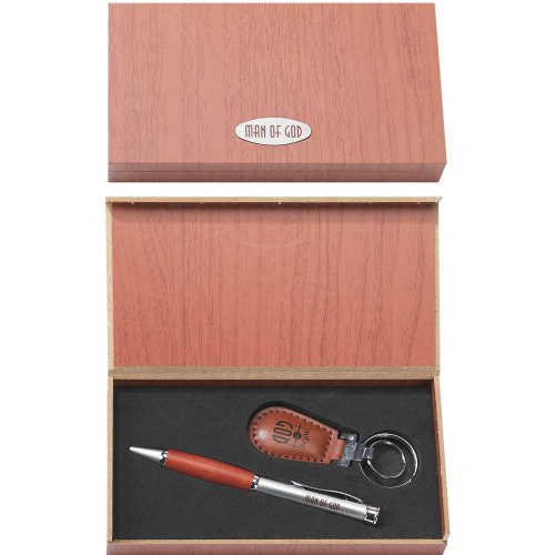 Man of God Metal and Leatherette 2 Piece Ballpoint Pen and Keychain Gift Boxed Set