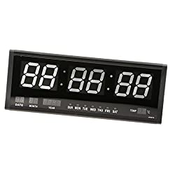 MagiDeal Big Oversized Digital Colorful LED Calendar Clock with Day and Date Temperature Display Shelf or Wall Mount US Plug - White, 48x4x19cm