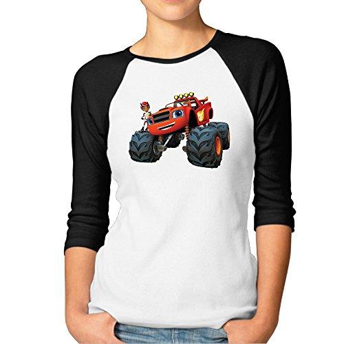 Women's The Monster Machines Funny 3/4 Sleeve Baseball Raglan Shirts