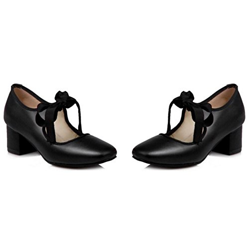Women's Chunky Shoes Court TAOFFEN Heels Black a8dnqaw5