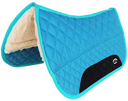 CHALLENGER Equine Western Horse Saddle PAD 28X32 Double Back Fleece Lined Blue Turquoise 3997