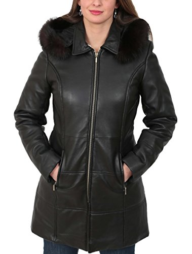 Ladies Leather 3/4 Coat - Ladies Soft Leather Puffer Coat 3/4 Length Padded Fitted Hooded Parka Lisa Black (X-Large)