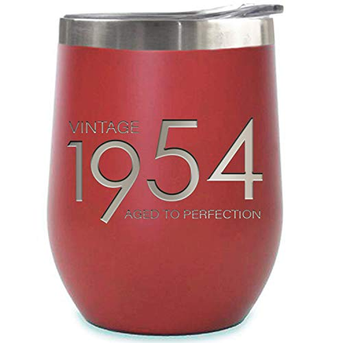 1954 65th Birthday Gifts for Women and Men Red 12 oz Insulated Stainless Steel Tumbler | 65 Year Old Presents | Mom Dad Wife Husband Present | Party Decorations Supplies Anniversary Tumblers Gift th