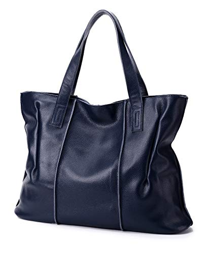 (Large, Soft, Genunie Leather CHERRY CHICK Women's Oversize Purse Tote Bag (Zipper Closure) (Navy-9316))
