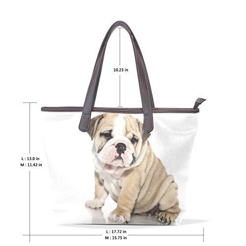 Coosun Damen Einzigartiges Design British Bull Dog Welpen Pu Leder Große Einkaufstasche Griff Umhängetasche Einkaufstaschen Casual Bags Handtasche für Mädchen