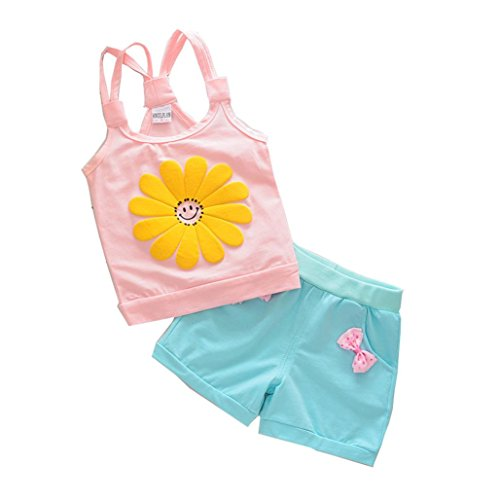 Orangeskyan Flower Cartoon Strap Baby Girls Tops Pants Outfits Clothes (3T, Pink) - Hello Kitty Blue Romper Child Costumes