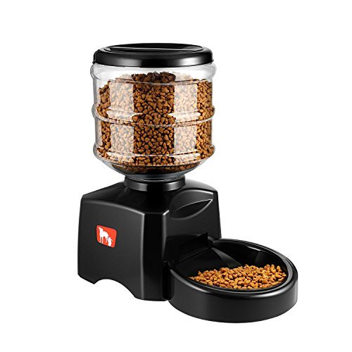 ICOCO 5.5L Automatic Pet Feeder with Voice Message Recording and LCD Screen Large Smart Dogs Cats Food Bowl Dispenser Black